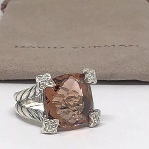 Auth David Yurman Pink Morganite Diamond Ring 6.25